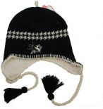 San Jose Sharks Unisex Alpine Beanie with tassels and ear flaps, Black & White